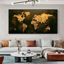 Affiche Vintage de la carte du monde, peinture sur