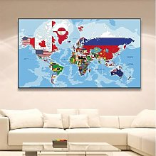 Affiches de la carte du monde, toile Non tissée