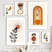 Affiches et imprimés nordiques abstraits, soleil,