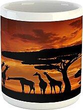 Africa Mug, Safari Animal with Giraffe Crew with
