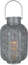 AGADIR-Lanterne LED Métal à piles H34cm Argenté