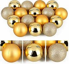 AGM Lot de 24 Boules de Noël Dorées 8CM, Boule