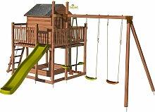 Aire de jeux pour enfant maisonnette avec portique