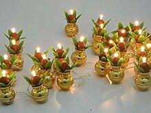 Akhand Diya Lampe à huile Puja ronde décorative