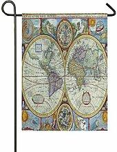 ALARGE Drapeau de Jardin Alge Vintage Carte du
