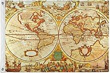ALarge drapeau de jardin antique rétro carte du