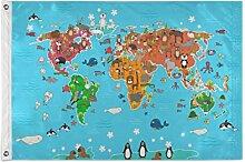 ALarge drapeau de jardin avec carte du monde de