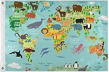ALarge drapeau de jardin avec motif carte du monde