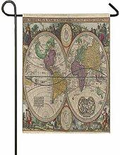 ALARGE Drapeau de Jardin Carte du Monde Ancienne