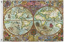 ALarge drapeau de jardin coloré vintage carte du
