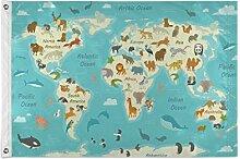 ALarge drapeau de jardin mignon carte du monde