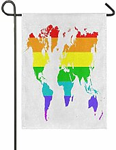 ALARGE Drapeau de Jardin Multicolore avec Carte du