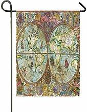 ALARGE Drapeau de Jardin Multicolore Vintage Carte