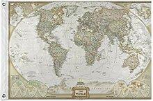 ALarge Drapeau de jardin vintage Carte du monde 2