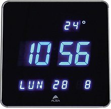 Alba Horloge Digitale LED Carrée, Noir/Gris
