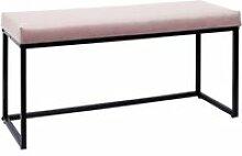 Alessia - banc avec assise velours côtelé rose