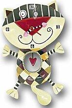 Allen Designs C602 Horloge Chat Cœur Résine 33 cm