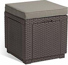 ALLIBERT Cube w/Cushion Tabouret, Marron/Taupe