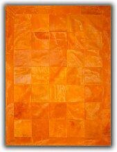 Allotapis - Tapis en peau de vache orange façon