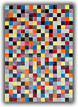 Allotapis - Tapis multicolore patchwork en cuir