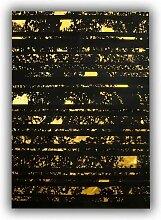 Allotapis - Tapis noir et or design plat en peau