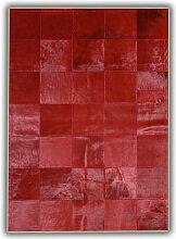 Allotapis - Tapis rouge en peau de vache patchwork