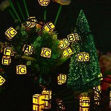 Alphabet anglais solaire guirlande lumineuse 7m