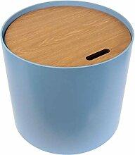 AltoBuy Brust - Table Basse Ronde Bleue avec Coffre