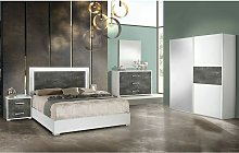 Altobuy - IZIA GRISE - Chambre 160x200cm + Armoire