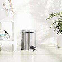 Amazon Basics Poubelle ronde à pédale, acier