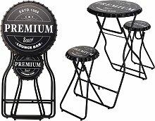Ambiance Table de bar pliable avec tabourets Noir