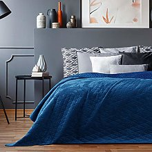 AmeliaHome Laila Velvet Couvre-lit Polyester Bleu