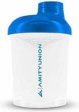 AMITYUNION Protein Shaker White Blue Deluxe 400 ml