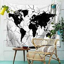 Amody Tapisserie Murale Moderne Carte du Monde