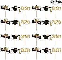 Amosfun 24pcs Graduation Cake Toppers Glitter 2020
