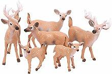 Amosfun Lot de 6 mini figurines de rennes de Noël