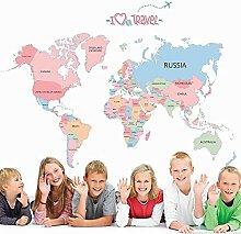 Amour Voyage Carte Du Monde Stickers Muraux pour