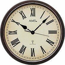 AMS F5977 Horloge Murale Radio-pilotée en Bois
