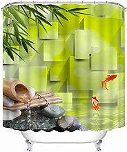 ANAZOZ Rideau de Douche Bambou Koi Vert 3D
