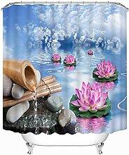 ANAZOZ Rideau de Douche Lotus en Bambou Rose Bleu