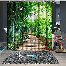 ANAZOZ Rideau de Douche Sentier du Bambou Vert