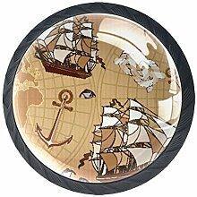 Ancienne carte du monde Boutons De Meuble Boutons