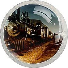Ancienne Locomotive Photo 4 pcs Boutons de Porte