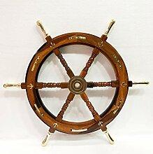 Ancre en bois antique de 76,2 cm en forme de roue