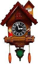 Angle&H Pendule Coucou, Horloge Murale en Bois de
