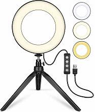 Anneau lumineux à LED avec trépied et support de