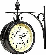 Anself Horloge de Gare Double Face en Métal