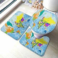 AOYEGO Ensemble de 3 tapis de bain motif carte du