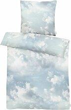 Apelt Parure de lit, Satin de Coton, Bleu, 155 x