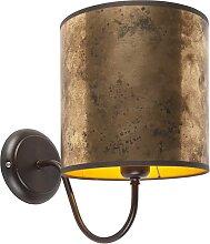 Applique classique marron avec abat-jour bronze -